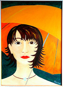 Schirm, Orange, Frau, Malerei