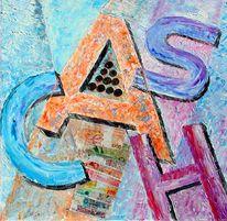 Geld, Collage, Münze, Kalligrafie