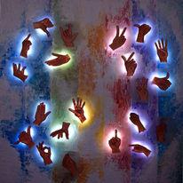 Hände, Verständigen, Lichtprozessor, Malerei
