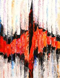 Segment, Rot schwarz, Abstrakt, Malerei