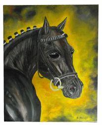 Pferde, Ölmalerei, Trakehner rappstute, Ölbild auf leinwand