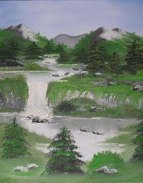 Bergfluss, Landschaft, Ölmalerei, Gemälde