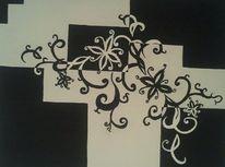 Acrylmalerei, Gemälde, Schwarz weiß, Malerei