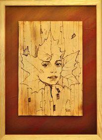 Fantasie, Herbst, Portrait, Brandmalerei