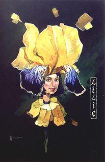 Portrait, Acrylmalerei, Lilie, Romantik