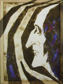 Portrait, Acrylmalerei, Brandmalerei, Fantasie