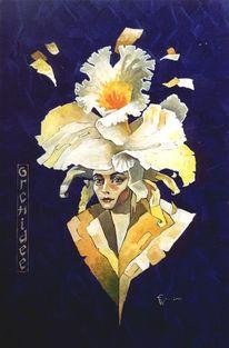 Orhidee, Fantasie, Portrait, Acrylmalerei
