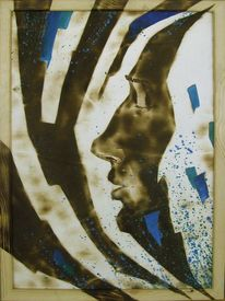 Fantasie, Portrait, Brandmalerei, Acrylmalerei