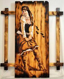 Acrylmalerei, Akt, Brandmalerei, Pirat