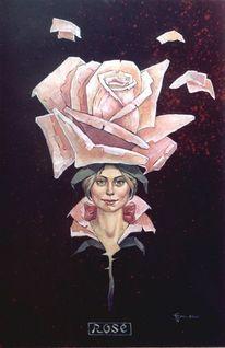 Fantasie, Portrait, Acrylmalerei, Rose