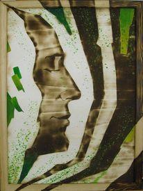 Acrylmalerei, Brandmalerei, Fantasie, Portrait