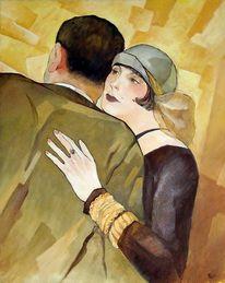Retro, Romantik, Portrait, Acrylmalerei