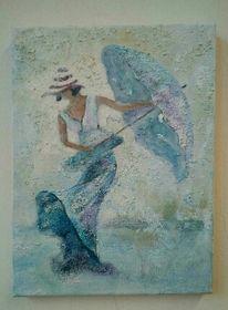 Strukturmasse, Frau, Acrylmalerei, Hut