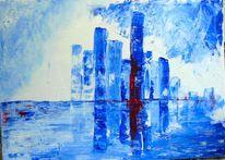 Blau, Weiß, Skyline, Kalt