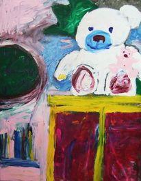 Uhr, Schwein, Teddy, Acrylmalerei