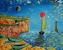 Segelboot, Japanische malerei, Leuchtfeuer, Klänge der natur