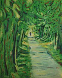 Grün, Linde, Fußweg, Weg