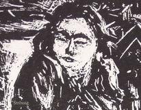 Frau, Stube, Linoleografia, Zimmer