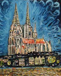 Haus, Postkarte, Kölner dom, Ölmalerei