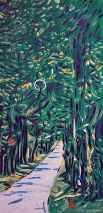 Lindendach, Linde, Ölmalerei, Baum