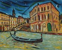 Mond, Venedig, Gondel, Wasser
