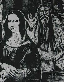 Nepal, Holzschnitt, Xylografi, Mona lisa