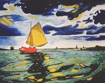 Gelb, Segelboot, Ölmalerei, Grün