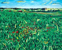 Impressionismus, Sommer, Mohnblumen, Himmel