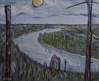 See, Baum, Impressionismus, Fluss