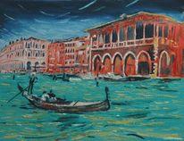 Ölmalerei, Rot, Grün, Italien