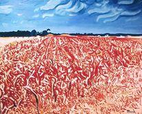Wolken, Pflanzen, Rot, Mais