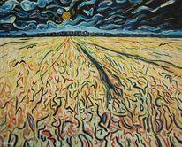 Ölmalerei, Expressionismus, Abendstimmung, Weizenfeld