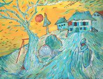 Baum, Frau, Hochsitz, Blau