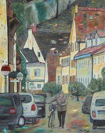 Straßenlaterne, Frau, Stadtmauer, Straße