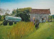 Landwirt, Anhänger, Mann, Ölmalerei