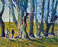 Grün, Ölmalerei, Kurfürstenallee, Fußweg