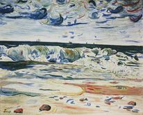 Segelschiff, Boot, Malerei, Küste