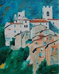 Haus, Ölmalerei, Berge, Glockenturm
