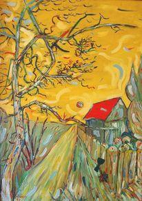 Baum, Sonne, Gelb, Dach