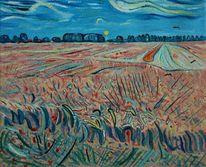 Feld, Ölmalerei, Landschaft, Malerei