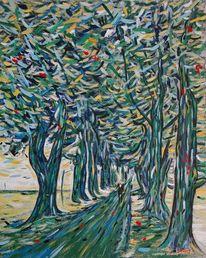 Ölmalerei, Spaziergänger, Malerei, Lindenallee