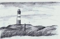 Leuchtturm, Bleistiftzeichnung, Amrum, Nordfriesland