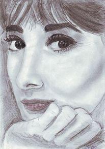 Skizze, Bleistiftzeichnung, Frau, Portrait