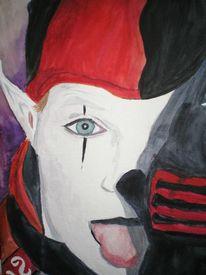 Clown, Harlekin, Böse, Aquarellmalerei