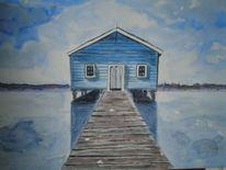 Wasser, Haus, Aquarellmalerei, Blau