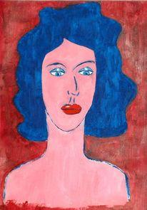 Popart, Blau, Frau, Portrait