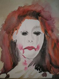 Clown, Frau, Rot, Aquarellmalerei