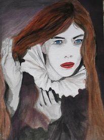 Portrait, Clown gaukler, Acrylmalerei, Gesicht