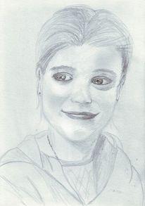 Portrait, Mädchen, Zeichnung, Lächeln