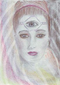 Augen, Frau, Bunt, Pastellmalerei